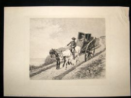 A. Laluze after R. Goubie C1889 Folio Etching. The Postillion